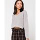 RETROD V-Neck Heather Gray Womens Crop Sweater