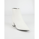 BAMBOO Block Heel White Womens Booties