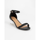 BAMBOO Faux Leather Womens Lucite Block Heels