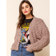 WEST OF MELROSE Fuzzy Feelings Knit Button Front Taupe Womens Cardigan
