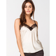 SAY WHAT? Solid Satin Lace Champagne Womens Cami
