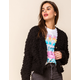 WEST OF MELROSE Fuzzy Feelings Knit Button Front Black Womens Cardigan