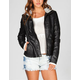 OTHERS FOLLOW Theresa Womens Hooded Faux Leather Jacket