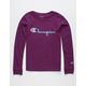 CHAMPION Heritage Script Purple Boys T-Shirt