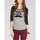 VANS Where's Your Mustache Womens Baseball Tee