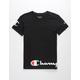 CHAMPION Wrap Around Script Black Boys T-Shirt