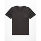 BLUE CROWN Garment Dyed Black Mens Pocket Tee