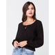 IVY & MAIN Solid Peplum Black Womens Peasant Top