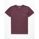 BLUE CROWN Garment Dyed Burgundy Mens Pocket Tee