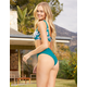 FULL TILT Solid Cheekier High Waist Emerald Bikini Bottoms