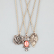FULL TILT 3 Piece Owl/Leaf/Rose Necklaces