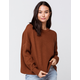 SKY AND SPARROW Drop Shoulder Womens Brown Sweater
