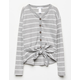 WHITE FAWN Stripe Button & Tie Front Heather Grey Girls Thermal