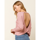 WEST OF MELROSE Options Open Back Womens Mauve Thermal Top