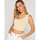IVY & MAIN Pointelle Button Front Womens Yellow Tank
