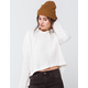 RSQ Chenille Hooded Split Back Ivory Womens Sweater