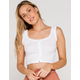 IVY & MAIN Pointelle Button Front Womens White Tank