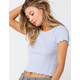 IVY & MAIN Solid Pointelle Womens Light Blue Tee
