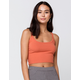 HEART & HIPS Ribbed Crop Womens Rust Cami