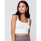HEART & HIPS Ribbed Crop Womens White Cami