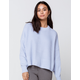 SKY AND SPARROW Drop Shoulder Womens Light Blue Sweater