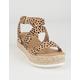 SODA Ankle Banded Womens Leopard Espadrille Flatform Sandals