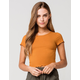 BOZZOLO Ribbed Lettuce Edge Womens Gold Crop Tee