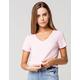HEART & HIPS V-neck Womens Pink Crop Tee