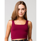 BOZZOLO Square Neck Womens Burgundy Crop Tank Top