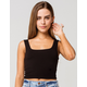 BOZZOLO Square Neck Womens Black Crop Tank Top