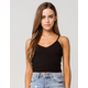 BOZZOLO Wide Rib Womens Black Crop Tank Top