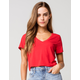 HEART & HIPS V-neck Womens Red Crop Tee