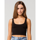 HEART & HIPS Scoop Neck Womens Black Crop Tank Top