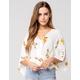 POLLY & ESTHER Floral Kimono Tie Front Top