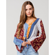 POLLY & ESTHER Printed Bell Sleeve Tie Front Womens Burgundy Top