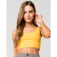 HEART & HIPS Scoop Neck Womens Yellow Crop Tank Top
