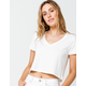 HEART & HIPS V-neck Womens White Crop Tee