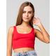 HEART & HIPS Scoop Neck Womens Red Crop Tank Top