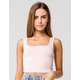 BOZZOLO Square Neck Womens Pink Crop Tank Top