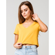 HEART & HIPS V-neck Womens Yellow Crop Tee
