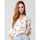 POLLY & ESTHER Floral Button Twist Front Womens Top