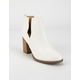 SODA Side Slit Womens White Booties