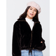 KNOW ONE CARES Fur Zip Womens Black Jacket