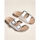 MADDEN GIRL Double Buckle Womens White Slide Sandals