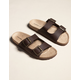 MADDEN GIRL Double Buckle Womens Chocolate Slide Sandals