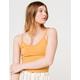 BOZZOLO Wide Rib Womens Mustard Crop Tank Top