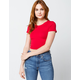 BOZZOLO Crew Neck Womens Red Crop Tee