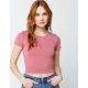 BOZZOLO Crew Neck Womens Pink Crop Tee
