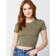 BOZZOLO Crew Neck Womens Olive Crop Tee
