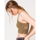 FULL TILT Lace Back Strappy Seamless Womens Olive Cami